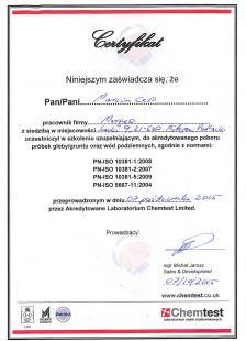 Certyfikat Chemtest